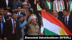 مسعود بارزانی در جریان گردهمایی حمایت از همه پرسی در روز پنجشنبه.
