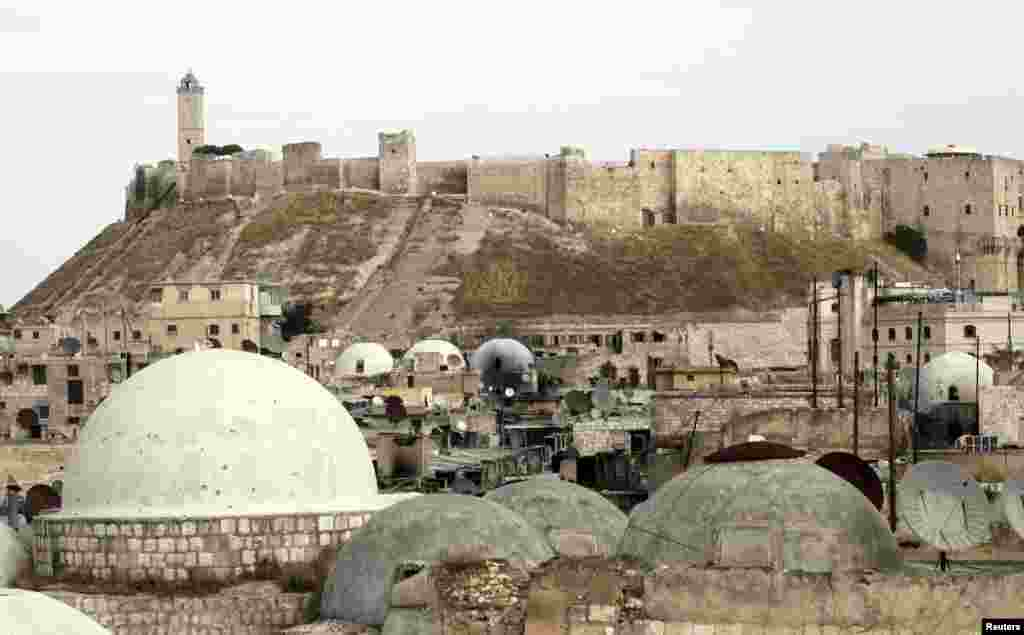 The Aleppo castle where pro-government forces are based in the Old Town of Aleppo on November 2, 2012