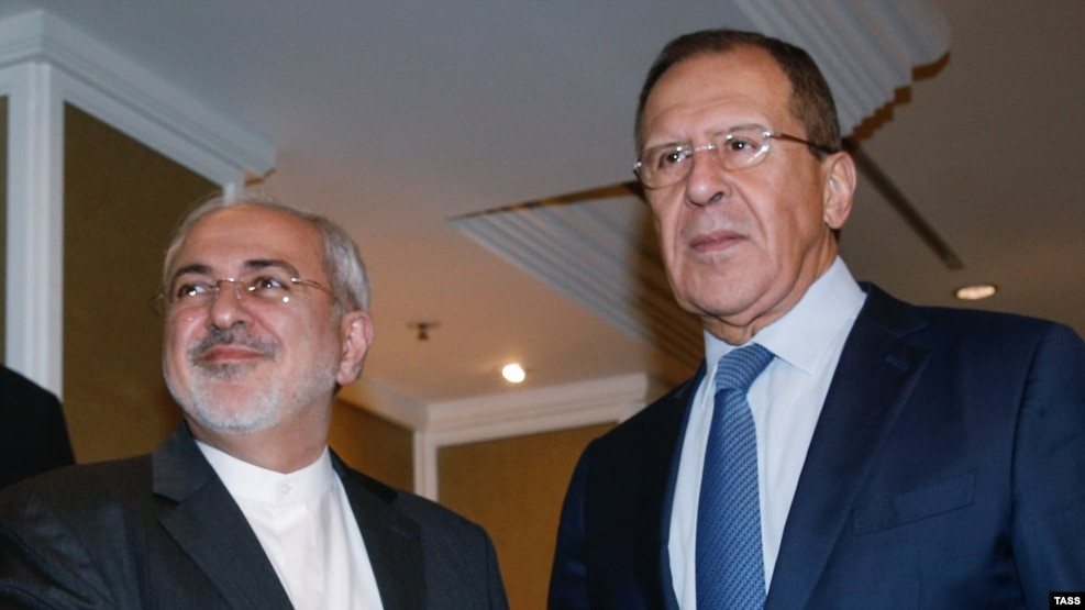 Iranian Foreign Minister Mohammad Javad Zarif (left) and Russian Foreign Minister Sergei Lavrov will meet with their Syrian counterpart.