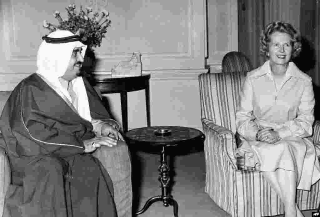 Margaret Thatcher meets with Saudi Arabian King Fahd bin Abdul Aziz at 10 Downing Street in London.