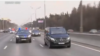 Patriarch Kirill drives on Moscow's ring road with a police escort on April 3.