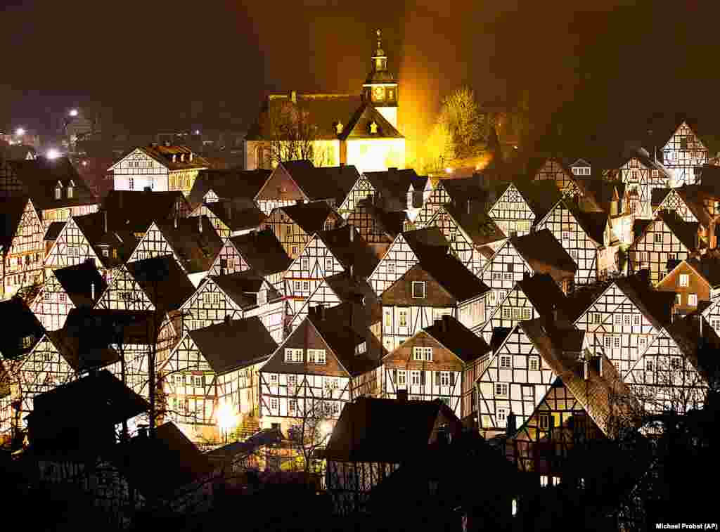 Timber-framed houses are seen in Freudenberg in central Germany. (AP/Michael Probst)