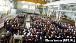 Митинг, посвященный дню охраны здоровья и безопасности труда на производстве. Темиртау, 25 апреля 2013 года.