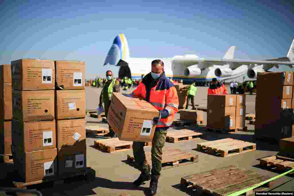 Face masks purchased by the German government are unloaded in Leipzig. For this China-to-Germany flight, Shost says the An-225 was initially scheduled to refuel in Kazakhstan, then Azerbaijan, but due to the lightweight cargo, the pilot made the decision to fly direct from Kazakhstan to Germany.