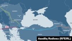 Տրանս-Ադրիատիկ գազատարի քարտեզը՝ ըստ «Ազատության» ադրբեջանական ծառայության