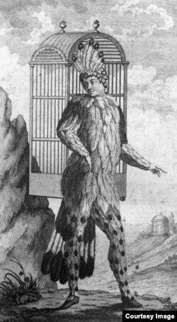 Эмануэль Шиканедер о образе получеловека-полуптицы Папагено. Гравюра из первого издания либретто «Волшебной флейты».