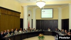 Armenia's government holds a weekly meeting in Yerevan.