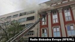 Пожар во Министерството за правда во Скопје
