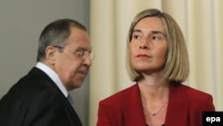 European Union foreign-affairs chief Federica Mogherini (right) and Russian Foreign Minister Sergei Lavrov attend a joint press conference in Moscow on April 24.