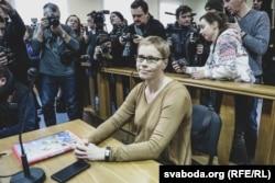 Марына Золатава падчас судовага паседжаньня па «справе БелТА». 12 лютага 2019 году