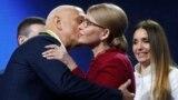 Yulia Tymoshenko kisses her husband, Oleksandr, during a Batkivshchyna party congress in Kyiv on January 22.