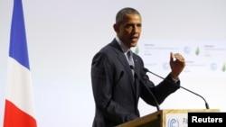 Американскиот претседател Барак Обама на самитот за климатски промени во Париз.