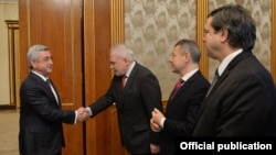 Armenia - President Serzh Sarkisian (L) meets the OSCE Minsk Group co-chairs in Yerevan, 9Feb2018.