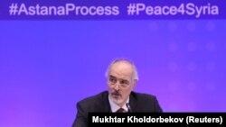 Постоянный представитель Сирии при ООН Башар аль-Джафари на переговорах по достижению мира в Сирии, прошедших в столице Казахстана 29 ноября 2018 года.