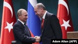 Встреча президента России Владимира Путина с президентом Турции Реджепом Эрдоганом, Анкара, 28 сентября 2017 года.