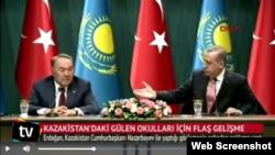 Nursultan Nazarbayev və Recep Tayyip Erdoğan brifinqdə