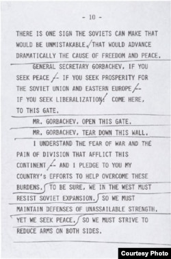 The speaking copy of Reagan's Brandenburg Gate address (courtesy of the National Archives)