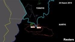 Фото с радара, на котором указано передвижение российского самолета, сбитого в Сирии вблизи турецкой границы, 24 ноября 2015 года