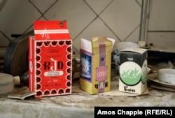 Packets of Soviet-era tea inside the abandoned factory