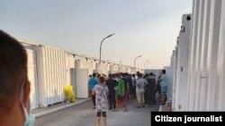 Узбекистанцы, содержащиеся в карантинном лагере «Уртасарай» в Ташкентской области, 8 июля 2020 года