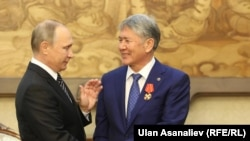 Президенты России и Кыргызстана Владимир Путин и Алмазбек Атамбаев. Бишкек, 17 сентября 2016 года.