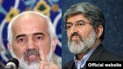 علی مطهری (سمت راست) و احمد توکلی، نمایندگان تهران در مجلس شورای اسلامی