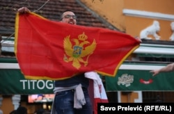 A Montenegrin fan in Podgorica before the match