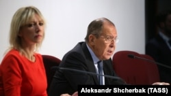 Russian Foreign Minister Sergei Lavrov and Maria Zakharova. File photo