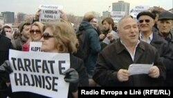 Pamje nga protestat e mëhershme kundër KEK-ut në Prishtinë.