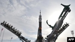 A Russian Soyuz spacecraft being installed on its launchpad in March 2010 at the Baikonur cosmodrome