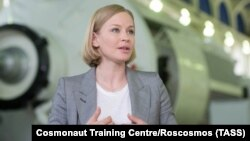 Actress Yulia Peresild speaks at the Cosmonaut Training Center in Star City, near Moscow, on May 13.