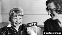 Germany--Olga Kopecka (Valeska) of the Czechoslovak Service (right) and Zdenka Sudova at Radio Free Europe headquarters in Munich, 1965.