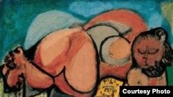 "Лежащая фигура. Давид Орлер. 1956 (Figura sdraiata, 1956. Smalto su carta). [Фото — <a href=""http://www.davideorler.it"" target=_blank>Davide Orler</a>]"