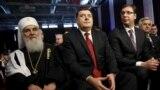 Patrijarh Irinej, predsjednik RS Milorad Dodik i premijer Srbije Aleksandar Vučić na obeležavanju Dana RS, Banjaluka, 9. januar 2016.