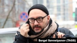 Russian theater and film director Kirill Serebrennikov arriving for a court hearing in Moscow on April 12.