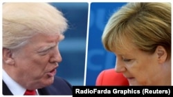 U.S. President Donald Trump (left) and German Chancellor Angela Merkel (combo photo)