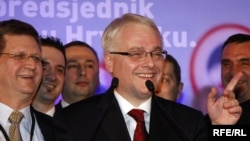 Ivo Josipovic of the Social Democratic Party celebrates his victory in Croatia's presidential election.
