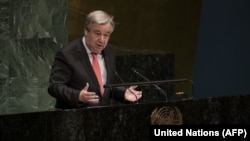 UN Secretary-General Antonio Guterres makes remarks at the opening meeting of the Commission on the Status of Women in New York on March 11.