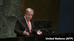 UN Secretary-General Antonio Guterres as he makes remarks at the opening meeting of the Commission on the Status of Women 63rd session, in New York City on March 11.