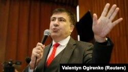 Міхеїл Саакашвілі під час судового слухання у Києві, 22 січня 2018 року