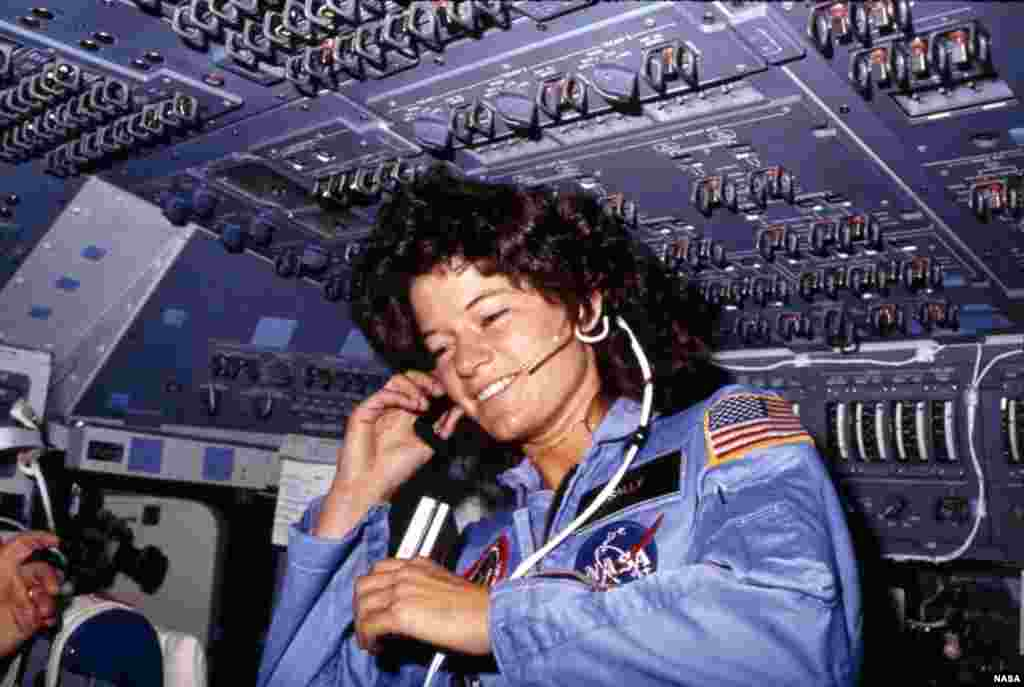 "American Sally Ride became the first non-Soviet woman to reach space, aboard the U.S. space shuttle ""Challenger"" in 1983."