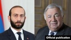 Председатель Национального собрания Армении Арарат Мирзоян (слева) и председатель Сената Франции Жерар Ларше