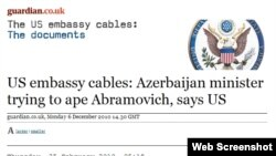 WikiLeks Baku ambassy cables Screen shot from Gaurdian