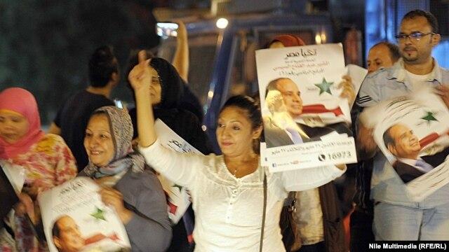 ابراز خوشحالی طرفداران سیسی از پیروزی او در انتخابات