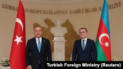 Թուրքիայի և Ադրբեջանի ԱԳ նախարարներ Մևլյութ Չավուշօղլուն և Ջեյհուն Բայրամովը, Բաքու, արխիվ, 1 նոյեմբերի, 2020թ.