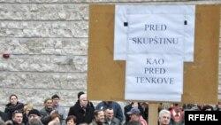 Sa jednog od radničkih protesta u Sarajevu, februar 2010