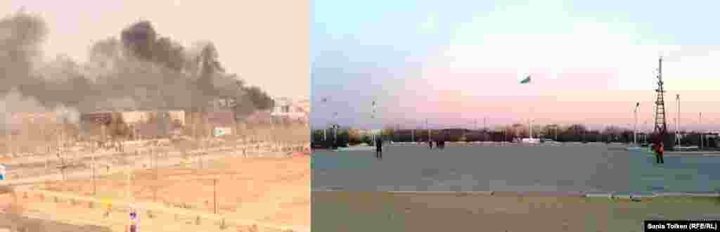 The video grab on the left shows smoke rising from a burning building on the day of the clashes, while a current photo shows a calm city square.
