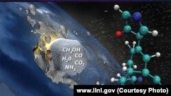 Вхождение метеорита в земную атмосферу, около 4 миллиардов лет назад