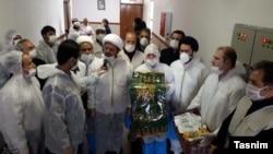 Clerics visiting coronavirus patients in Tehran. Undated