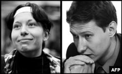 Журналист Анастасия Бабурова (сол жақта) мен құқық қорғаушы Станислав Маркелов.